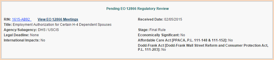 ead for h4 rule omb review
