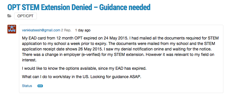 opt extension denied help needed