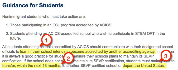 acics loss accreditation options students f1 visa esl program