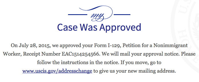 h1b petition approved notice mailed