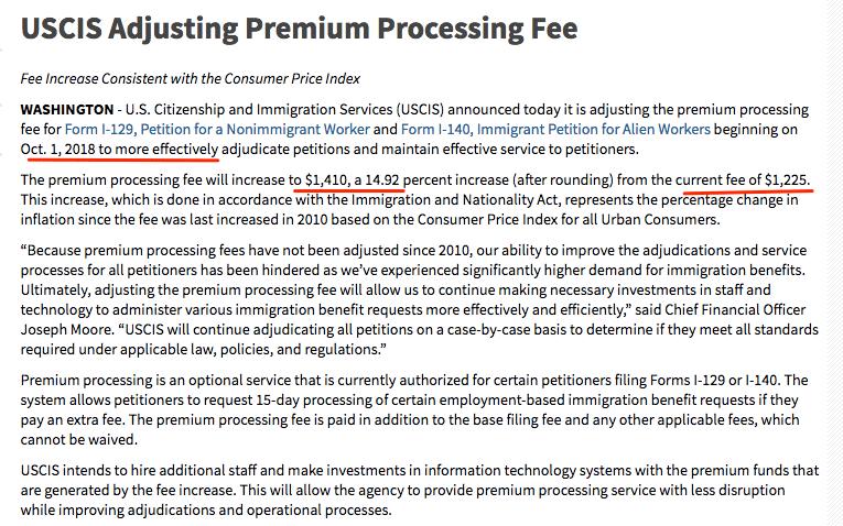 H1B Visa USCIS Premium Processing Fee