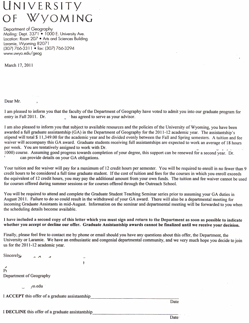 University of Wyoming - Admission Letter