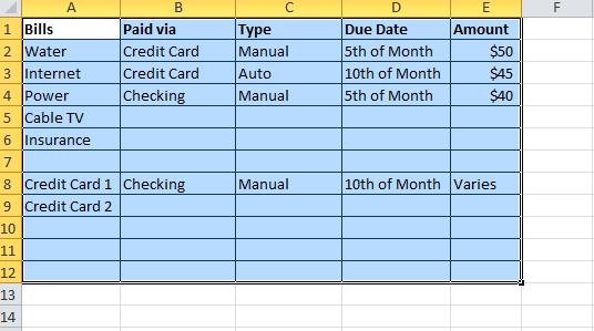 expenses bill tracker