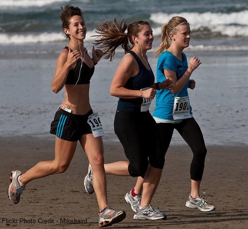 smiling jogging