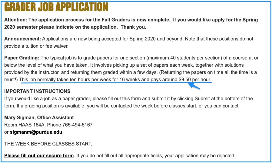 Purdue University - Grader Job Application