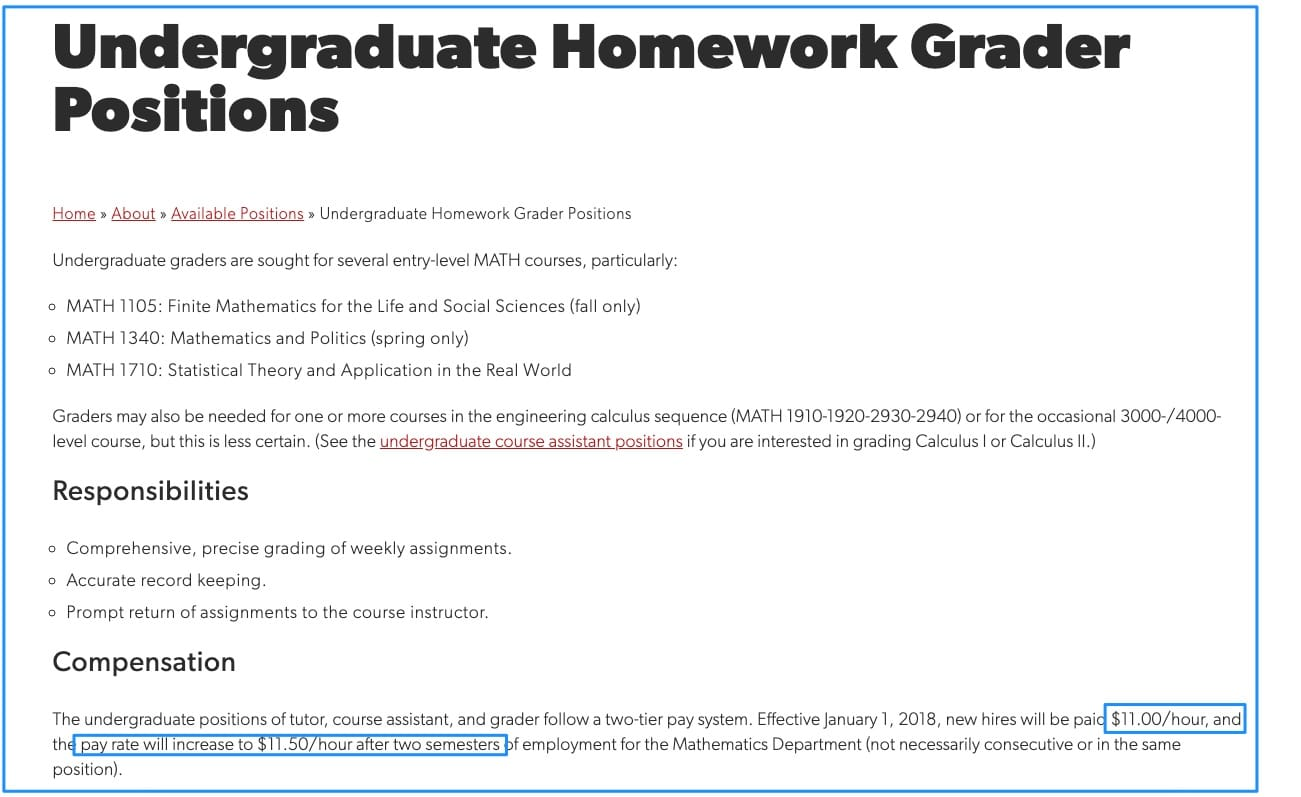 Undergraduate Homework Grader Position