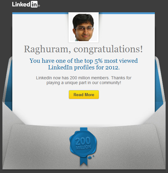 Top 5% Most Viewed LinkedIn Profiles for 2012