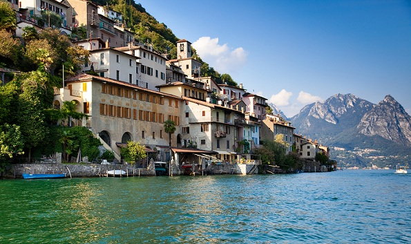 Lugano lake in Switzerland