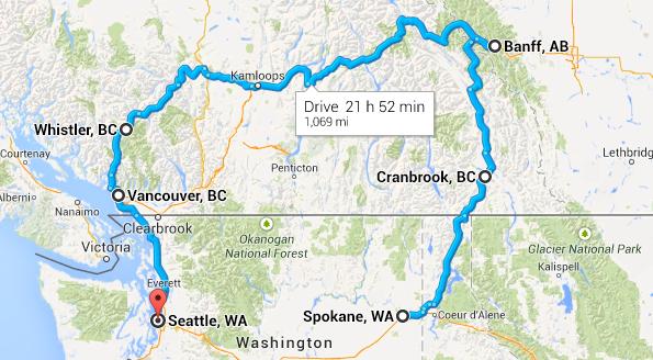canada trip map