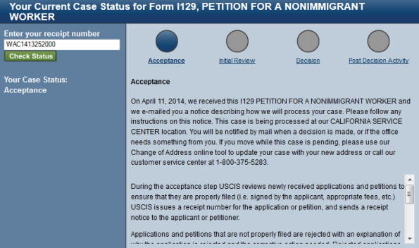 h1b  visa status acceptance