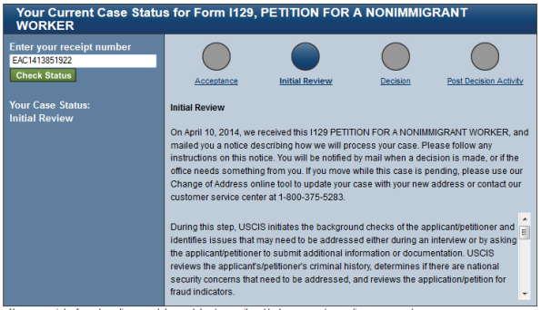 h1b visa status Initial Review