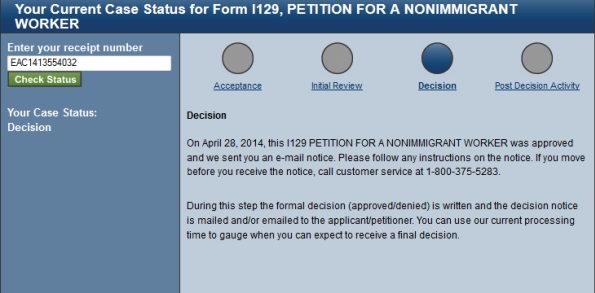 h1b visa status decision