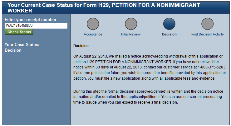 h1b withdrawn status