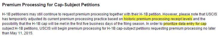 h1b premium processing high volume