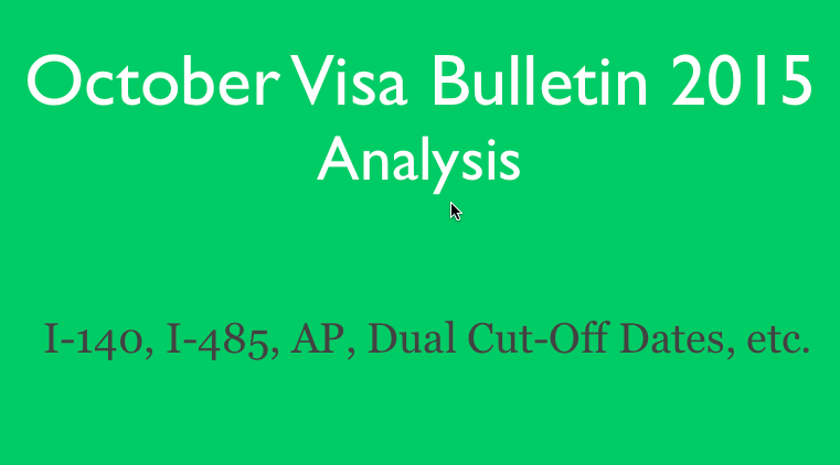 FAQ's About New October 2015 Visa Bulletin? [Video]