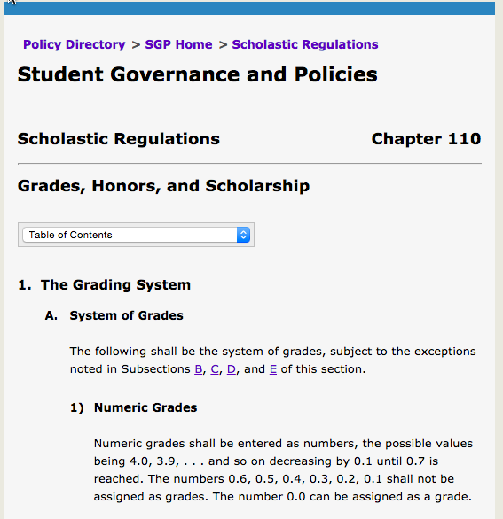 university grading policy