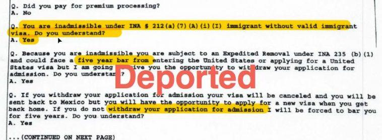 h1b visa deported port of entry