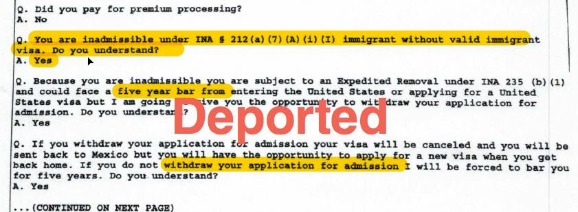 h1b visa deported port of entry