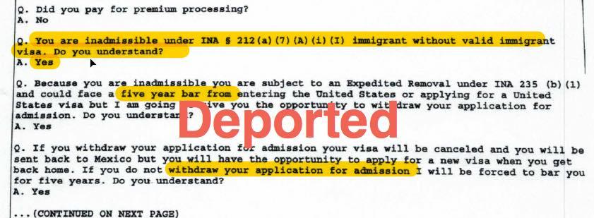 h1b visa worker deported at port of entry after cbp officer finds