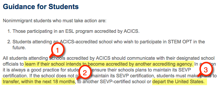 acics loss accreditation options students f1 visa esl program