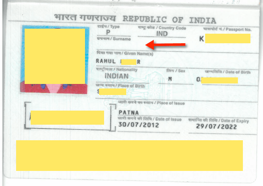 surname last name empty blank indian passport
