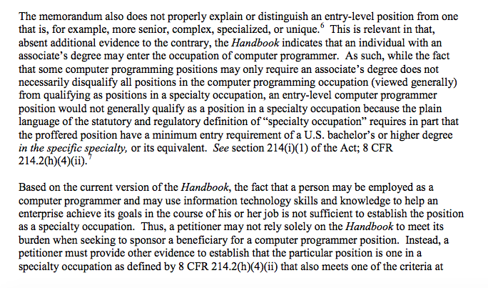 USCIS Memo: Computer Programmer Would Not Generally Qualify