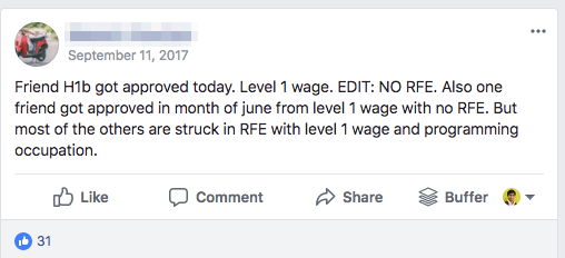 h1b approved no rfe level 1 wage