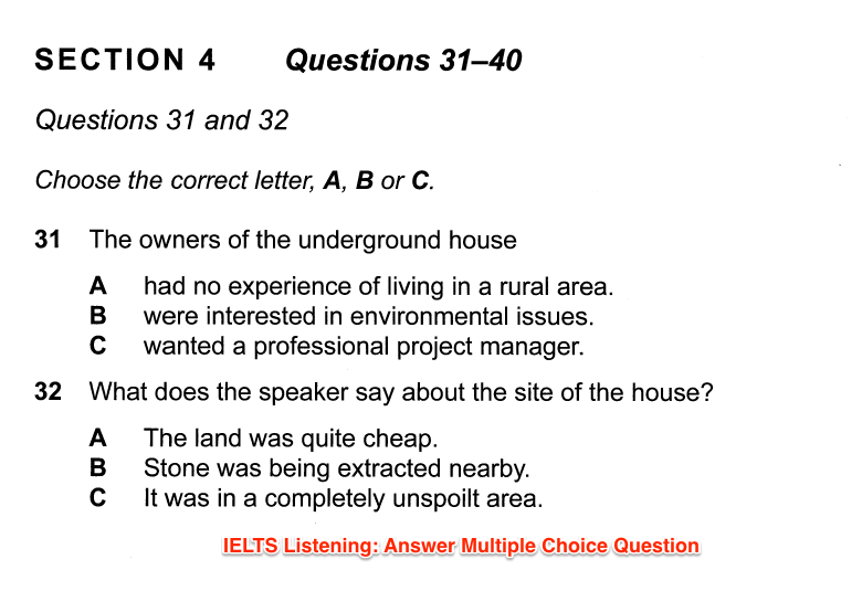 ielts listening question type multiple choice
