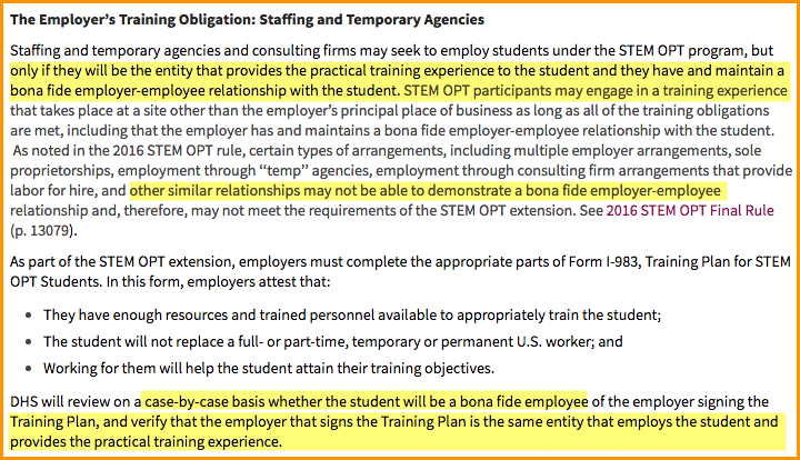 stem opt employer site requirements