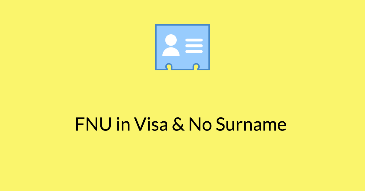 FNU usa Visa No Surname passport
