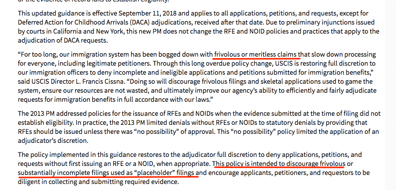 uscis memo rfe no longer issued