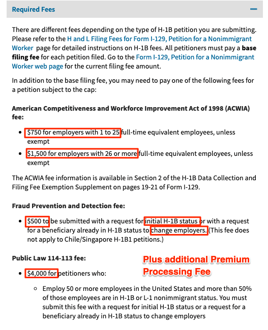 h1b visa filing fees