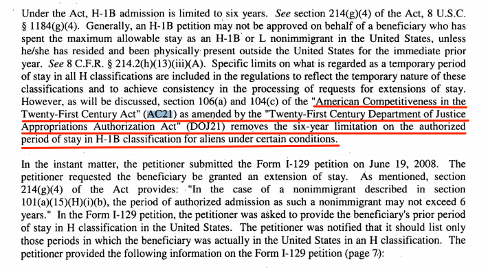h1b visa denial notice ac21 6 year limit h1b visa rfe