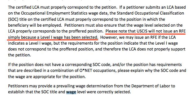 h1b visa wage level 1 rfe uscis