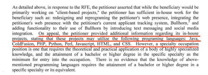inhouse projects h1b visa rfe denial notice