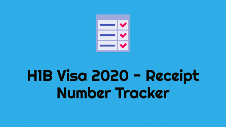 H1B Visa 2020 – Lottery Results, Receipt Number Tracker
