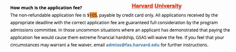 harvard university applicaiton fee for masters degree