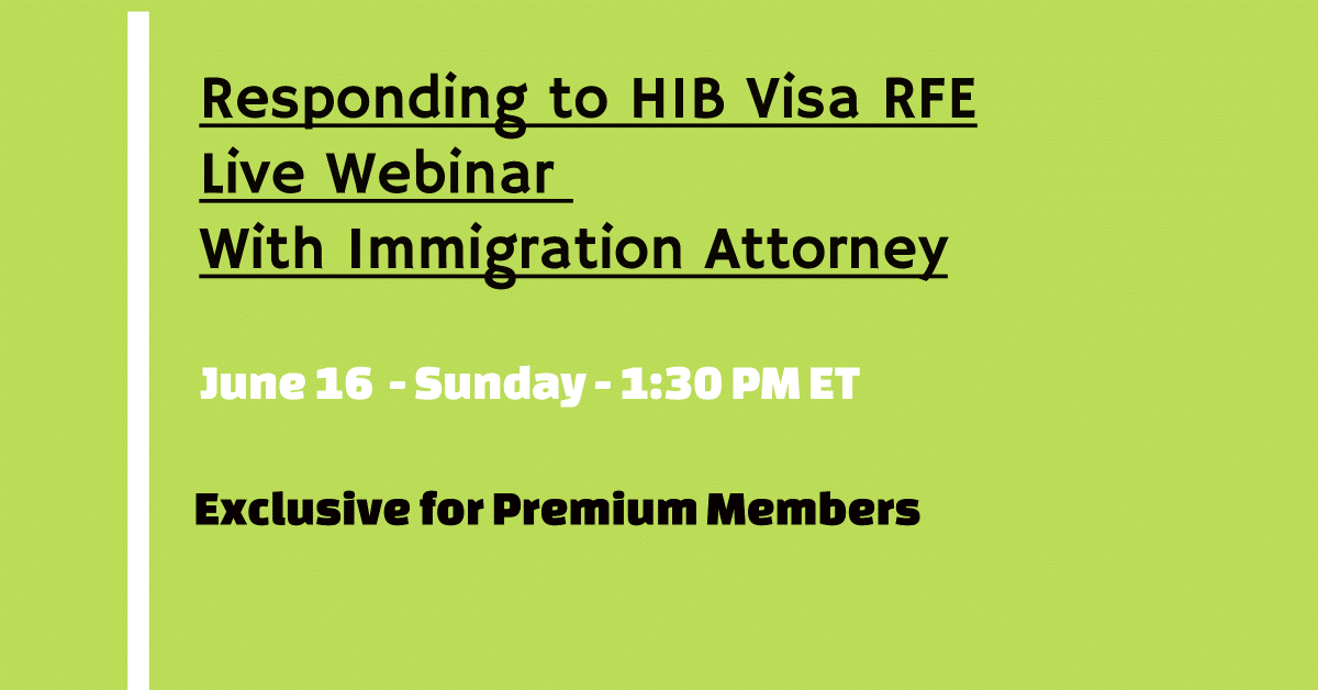 H1B Visa RFE Live Immigration Attorney