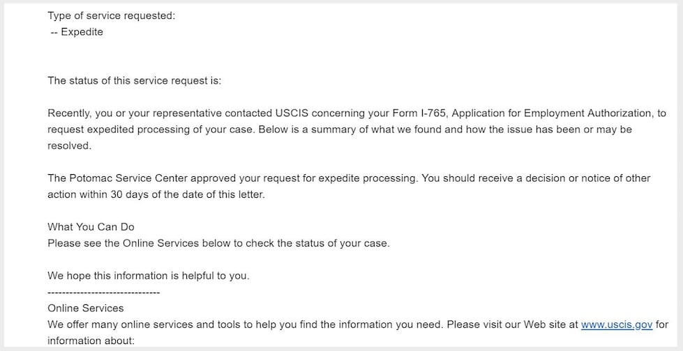 uscis potomoc service center opt ead expediaet request approved confirmation