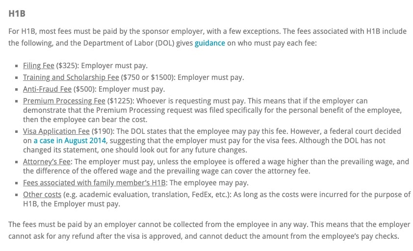 Who is responsible for H1B fees and Green Card fees, the employer or the employee