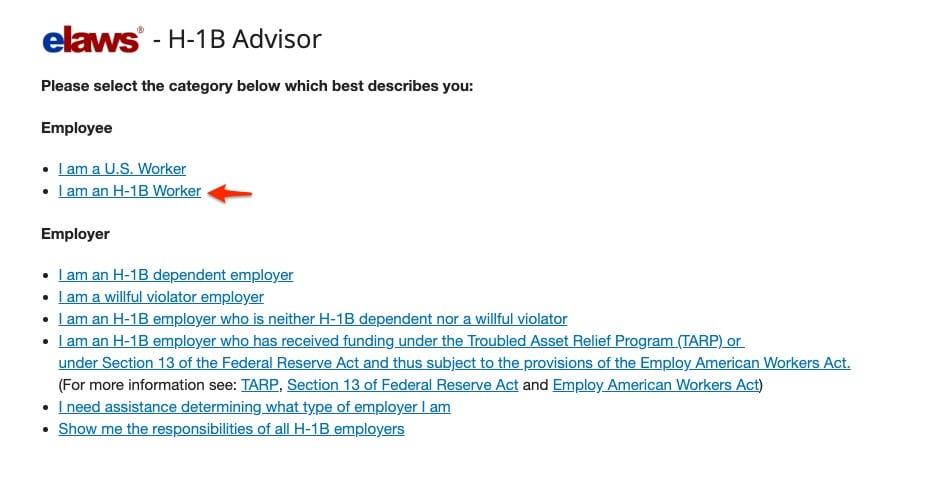 elawa dol h1b visa worker