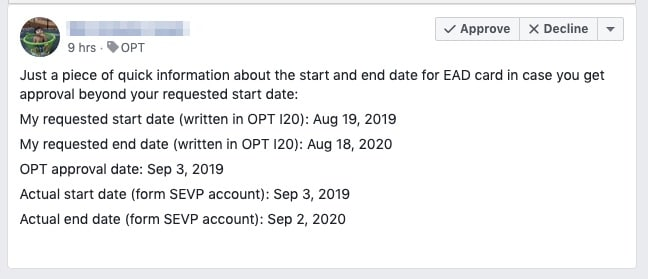 opt start date - delayed approval