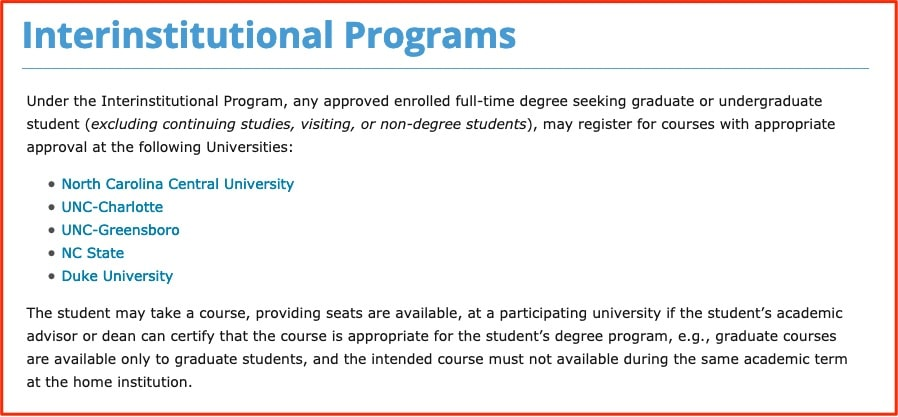 Interinstitutional Program unc duke ncsu