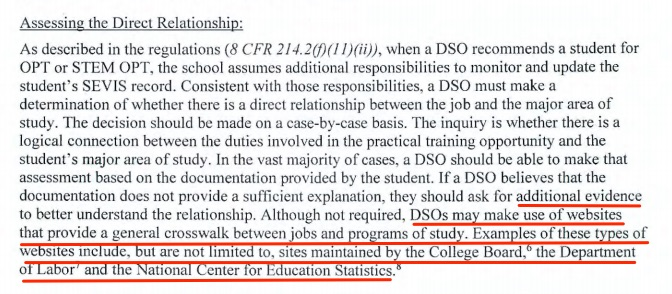 OPT STEM direct reltionship job major area of study