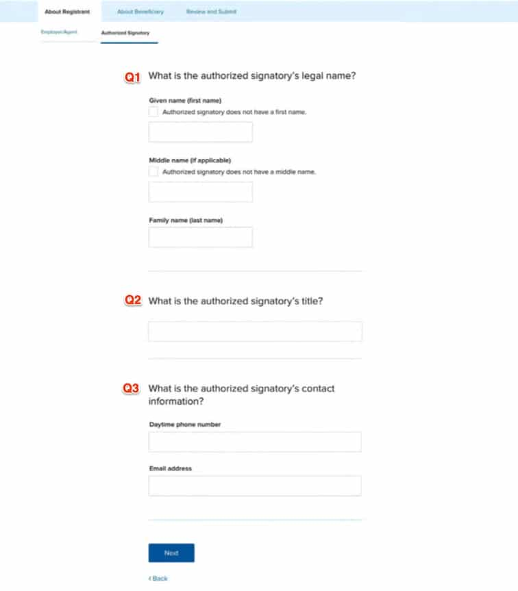 4 - Authorized representative questions 1 -3 h1b registration tool