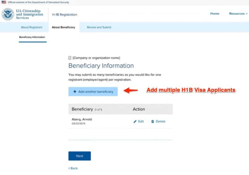 7. Add More H1B Visa Applicants