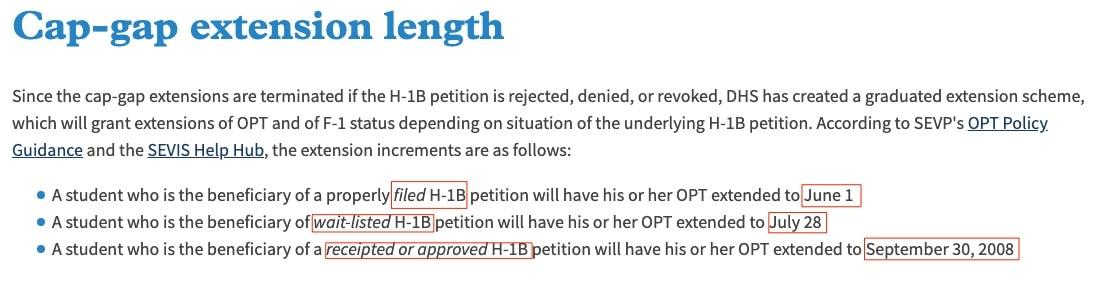 h1b cap gap extension duration june 1 july 28 sep 30