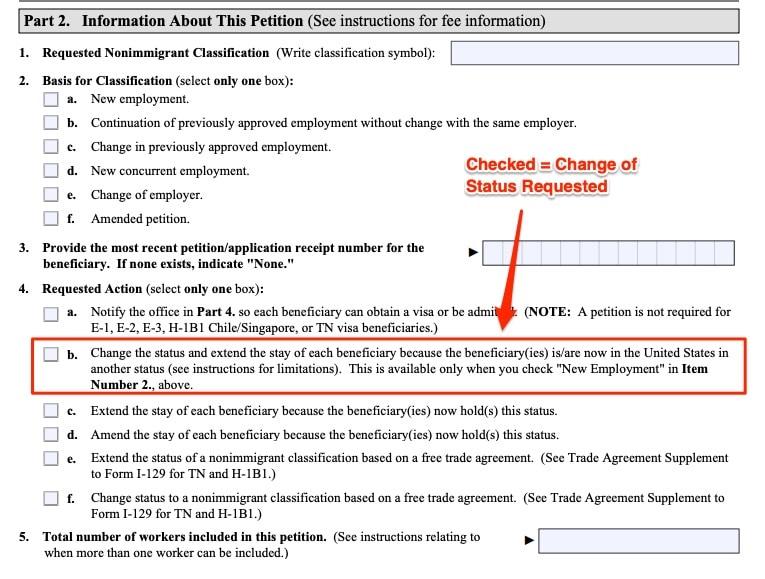 h1b change of status form i129