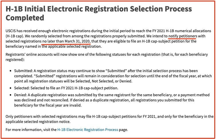 H1B Visa 2021 Initial Electronic Registration Lottery Selection Process Completed