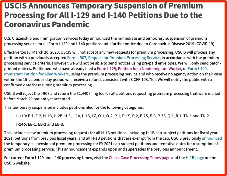USCIS Announces Temporary Suspension of Premium Processing for All I-129 and I-140 Petitions Due to the Coronavirus Pandemic